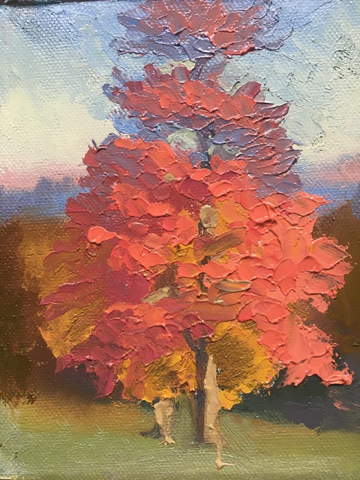 Sunny Trees at Larz, Palette Scrapings