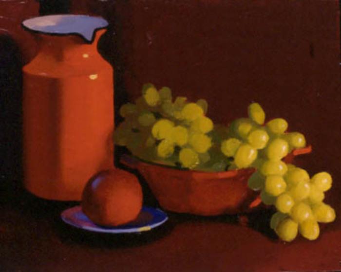 Orange Pitcher, Green Grapes