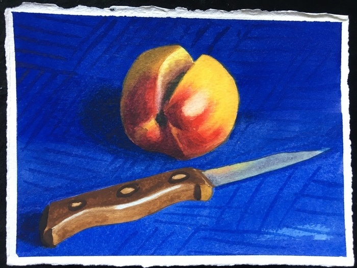 Peach and Knife