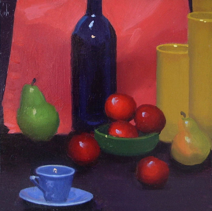 Still Life with Blue Bottle, Fruit