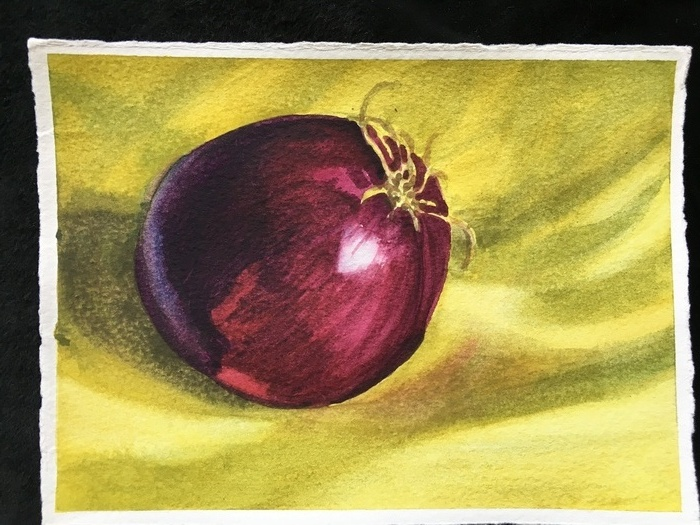 Red Onion on Yellow